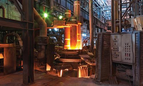 Large Steel Mill Production Facility Molten Metal